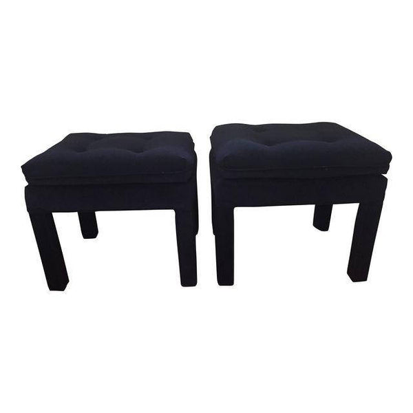Mid Century Hollywood Regency Blue Velvet Parson's Benches in the style of Milo Baughman- A Pair- SOLD- SOLD- SOLD
