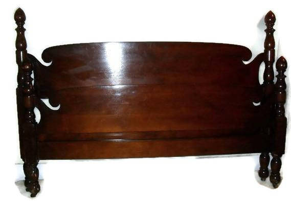 Antique Maple Acorn Bed , double full size with headboard, footboard and rails