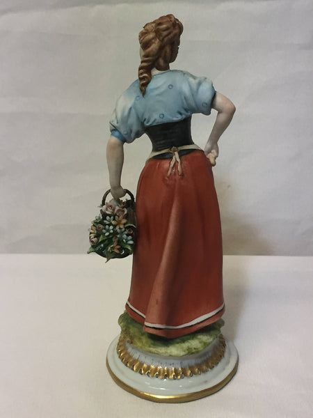 ON SALE - Tiche - Peasant Woman with Basket of Flowers