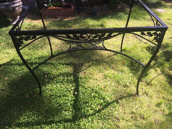 Vintage Wrought Iron Woodard Metal Ivy Patio Dining Table ( no glass included)