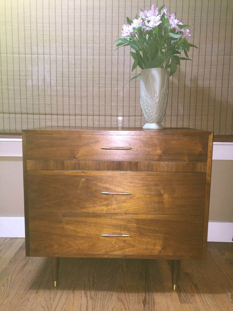 Danish Mid-Century Modern Low Walnut Dresser Chest