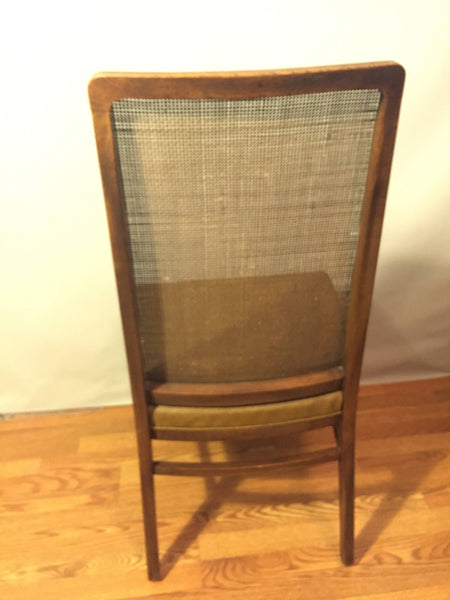 Mid Century Hollywood Regency Oak and Cane Upholstered Dining Chairs in the style of Milo Baughman for Dillingham - set of 6