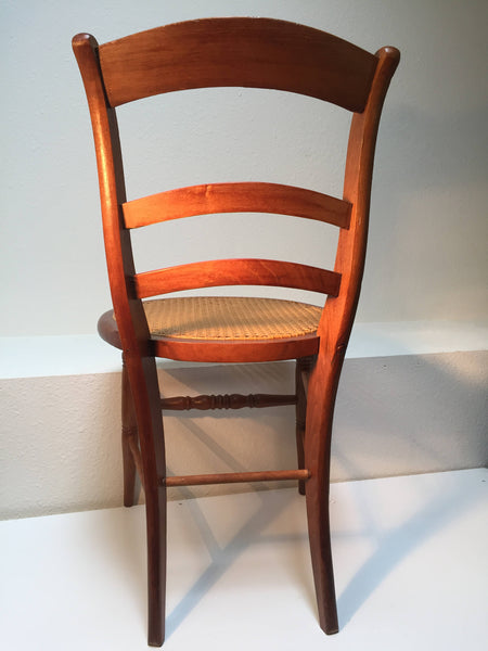 Antique Turned Wood Chair with woven cane seat, great curves, accent or desk chair