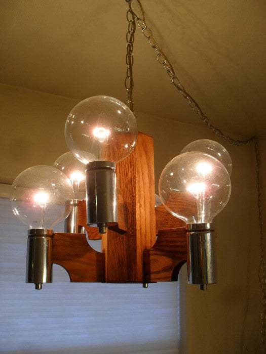 Pair of Fantastic mid century modern chrome and oak hanging swag orb pendant chandelier