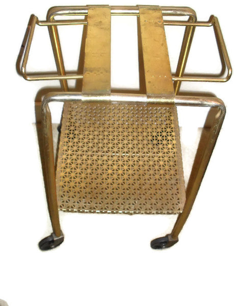 1950's Adjustable Gold Tone Metal TV Or HI FI Stereo Stand
