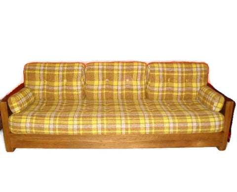 Fabulous Mid Century 70's Plaid Sofa/ Daybed