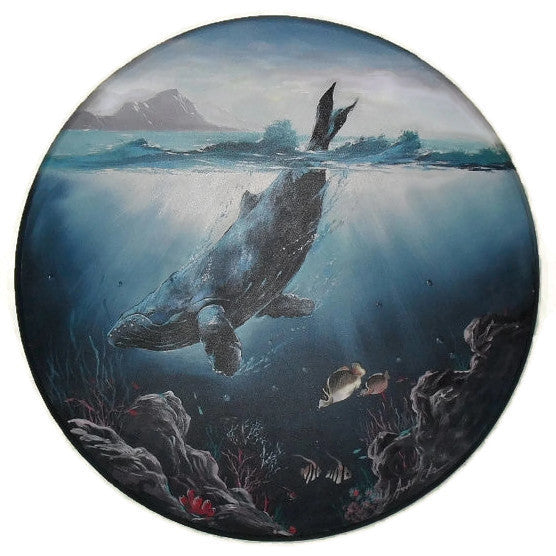 Original Marine Life Humpback Whale Painting By Andie Cho, in the style of Wyland