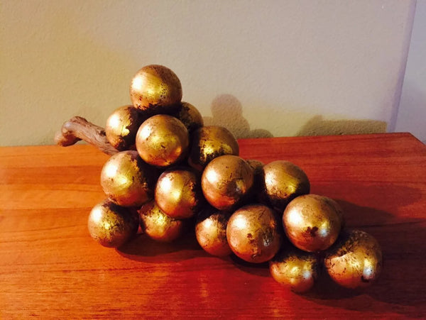 1960's Gold Leaf Clay Grapes- 1960's Hollywood Regency table decor