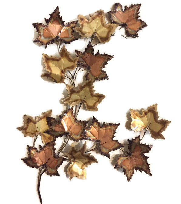 Vintage Jere Style Huge Copper Brass Maple Leaves Metal Wall Art Sculpture -signed- SOLD- SOLD- SOLD