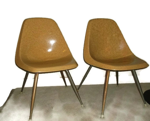 Set of Two Mid Century Modern Vintage Borg-Warner Fiberglass Shell Chairs Eames Era-SOLD - SOLD - SOLD