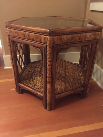 Boho Woven Rattan Side Table-SOLD- SOLD- SOLD