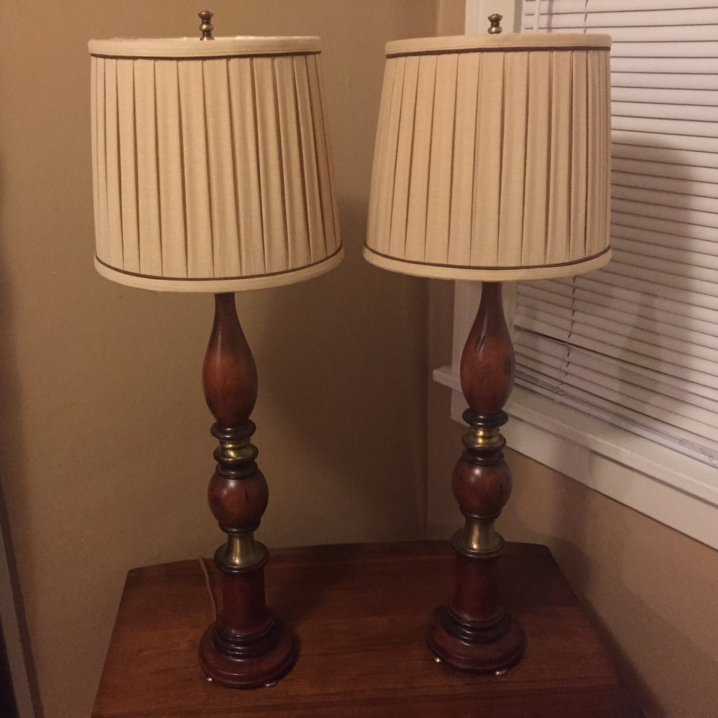 Pair of Tall Walnut and Aged Brass Table Lamps