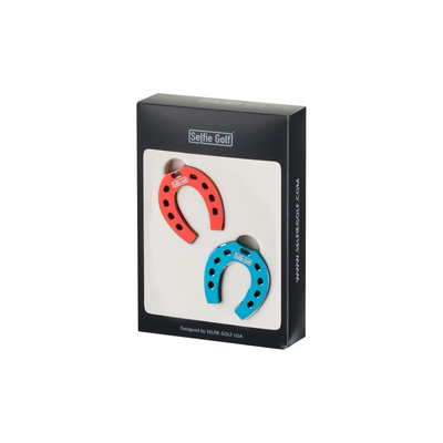 SelfieTotem Ball Marker - Lucky Horseshoe Multi Color Luxury Accessories Bundle (Red/Blue)