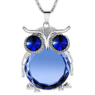 Silver & Austrian Crystal Owl Pendant & Chain...FREE SHIPPING... Designer Jewellery