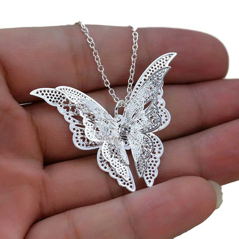 Silver Butterfly Pendant...FREE SHIPPING... Designer Jewellery
