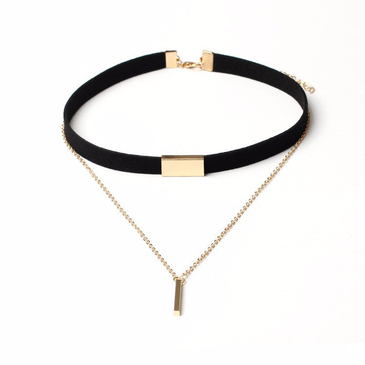 black velvet short choker necklace gold silver chain bar. Black Bedroom Furniture Sets. Home Design Ideas