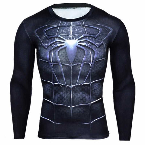 Men's Black Spiderman Sports Compression Top...FREE SHIPPING... Fitness Fashion