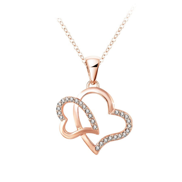18k Gold Plated Double Heart & Austrian crystal Pendant Necklace Jewellery