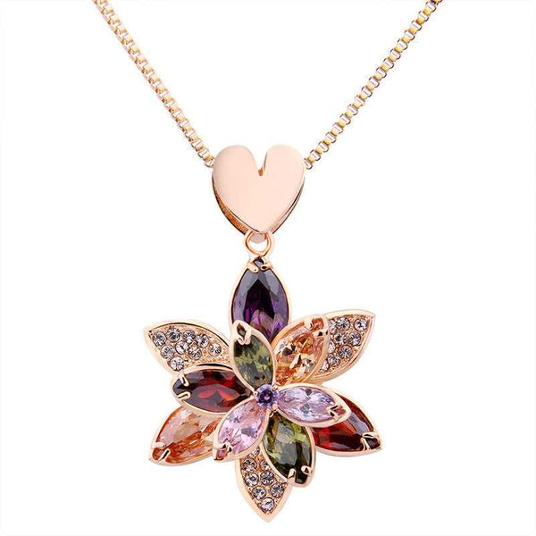 18k Gold Plated & Austrian Crystal Flower Pendant Necklace Jewellery