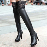 Designer 2017 Lace Over The Knee Boots High Heels...FREE SHIPPING...