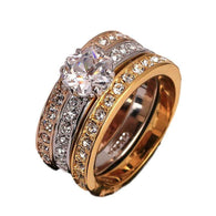 Jewellery Diamond silver 3 Peice Gold & Platinum Plated Ring