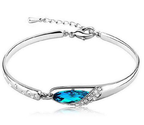 New Silver Plated & Crystal Bangle Bracelet...FREE SHIPPING...
