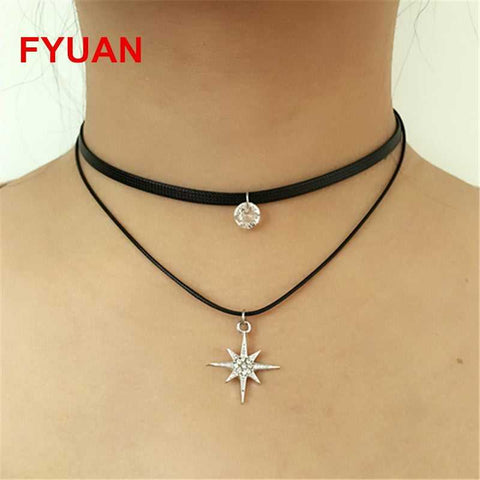 Black Leather Chain Double Choker Crystal Star Necklace...FREE SHIPPING...Jewellery
