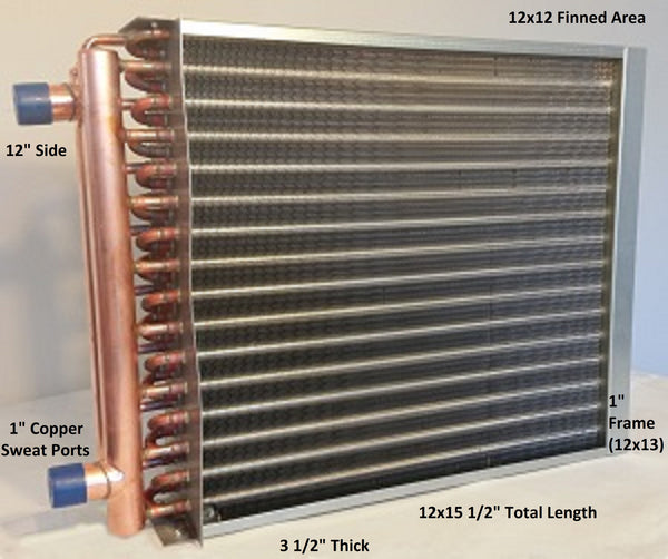 "12x12 Water to Air Heat Exchanger~~1"" Copper Ports w/ EZ Install Front Flange"