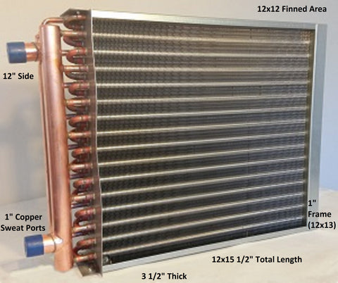 "12x12  Water to Air Heat Exchanger  1"" Copper Ports With Install Kit"