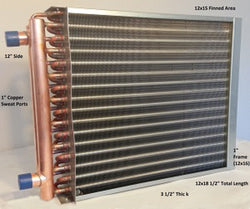 "12x15 Water to Air Heat Exchanger~~1"" Copper ports w/ EZ Install Front Flange"