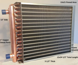 "12x21  Water to Air Heat Exchanger 1"" Copper Ports  With Install Kit"