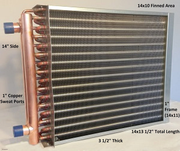 "14x10 Water to Air Heat Exchanger~~1"" Copper ports w/ EZ Install Front Flange"