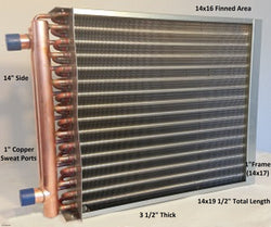 "14x16 Water to Air Heat Exchanger 1"" Copper Ports With Install Kit"