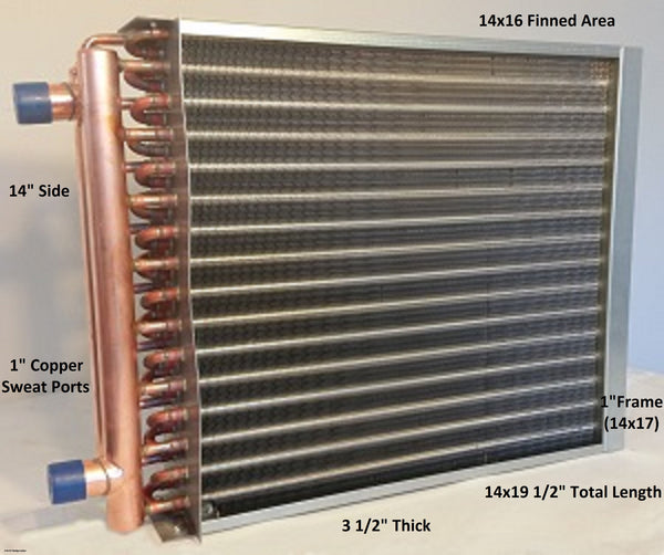 "14x16 Water to Air Heat Exchanger~~1"" Copper Ports w/ EZ Install Front Flange"