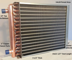 "14x18 Water to Air Heat Exchanger 1"" Copper Ports With Install Kit"