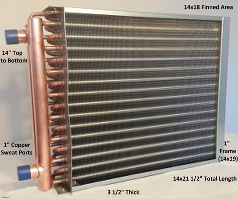 "14x18 Water to Air Heat Exchanger~~1"" Copper Ports w/ EZ Install Front Flange"