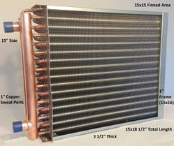 "15x15 Water to Air Heat Exchanger~~1"" Copper Ports w/ EZ Install Front Flange"