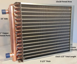 "15x18 Water to Air Heat Exchanger~~1"" Copper Ports w/ EZ Install Front Flange"