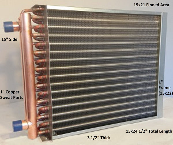 "15x21 Water to Air Heat Exchanger~~1"" Copper Ports w/ EZ Install Front Flange"