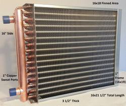 "16x18  Water to Air Heat Exchanger 1"" Copper Ports With Install Kit"