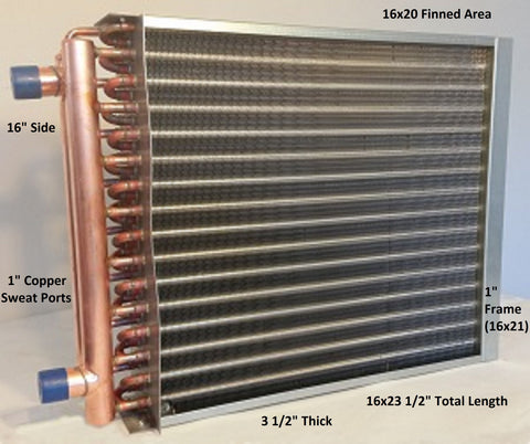 "16x20 Water to Air Heat Exchanger~~1"" Copper Ports w/ EZ Install Front Flange"