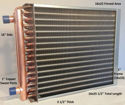 "16x22 Water to Air Heat Exchanger~~1"" Copper Ports w/ EZ Install Front Flange"