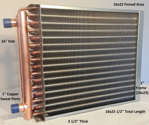 "16x22  Water to Air Heat Exchanger 1"" Copper Ports with install kit"