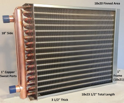 "18x20 Water to Air Heat Exchange ~~1"" Copper Ports w/ EZ Install Front Flange"