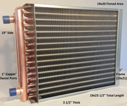 "19x20 Water to Air Heat Exchanger~~1"" Copper ports w/ EZ Install Front Flange"