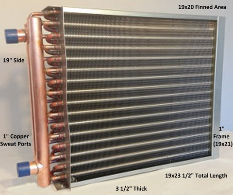 "19x20  Water to Air Heat Exchanger 1"" Copper Ports With Install Kit"