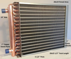 "20x19  Water to Air Heat Exchanger 1"" Copper Ports With Install Kit"