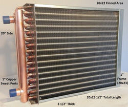 "20x22  Water to Air Heat Exchanger 1"" Copper Ports With Install Kit"
