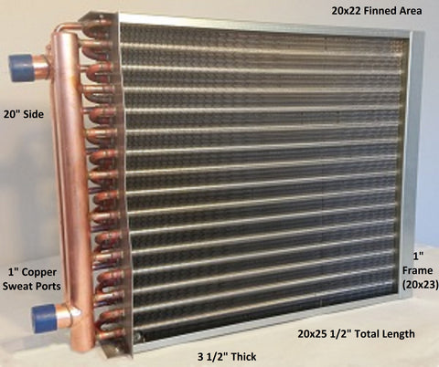 "20x22 Water to Air Heat Exchanger~~1"" Copper Ports w/ EZ Install Front Flange"