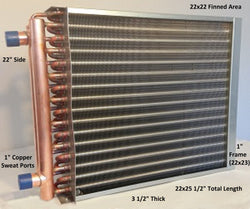 "22X22 Water to Air Heat Exchanger~~1"" Copper Ports w/ EZ Install Front Flange"